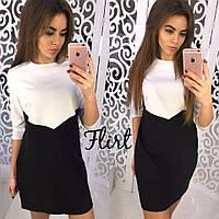 Красивое женское платье двухцветное, цвет черный+белый