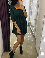 Стильное женское платье легкого покроя, цвет бутылка