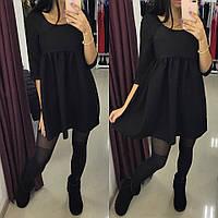 Стильное женское платье легкого покроя, цвет черный