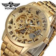 Золотые мужские наручные механические часы Winner Golden Steel