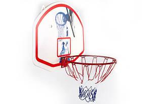 Щит баскетбольный с кольцом и сеткой  (щит PP рр 90x60см, кольцосталь (12 мм) d 42см)