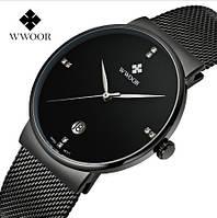 Черные мужские кварцевые часы Wwoor Lux на браслете