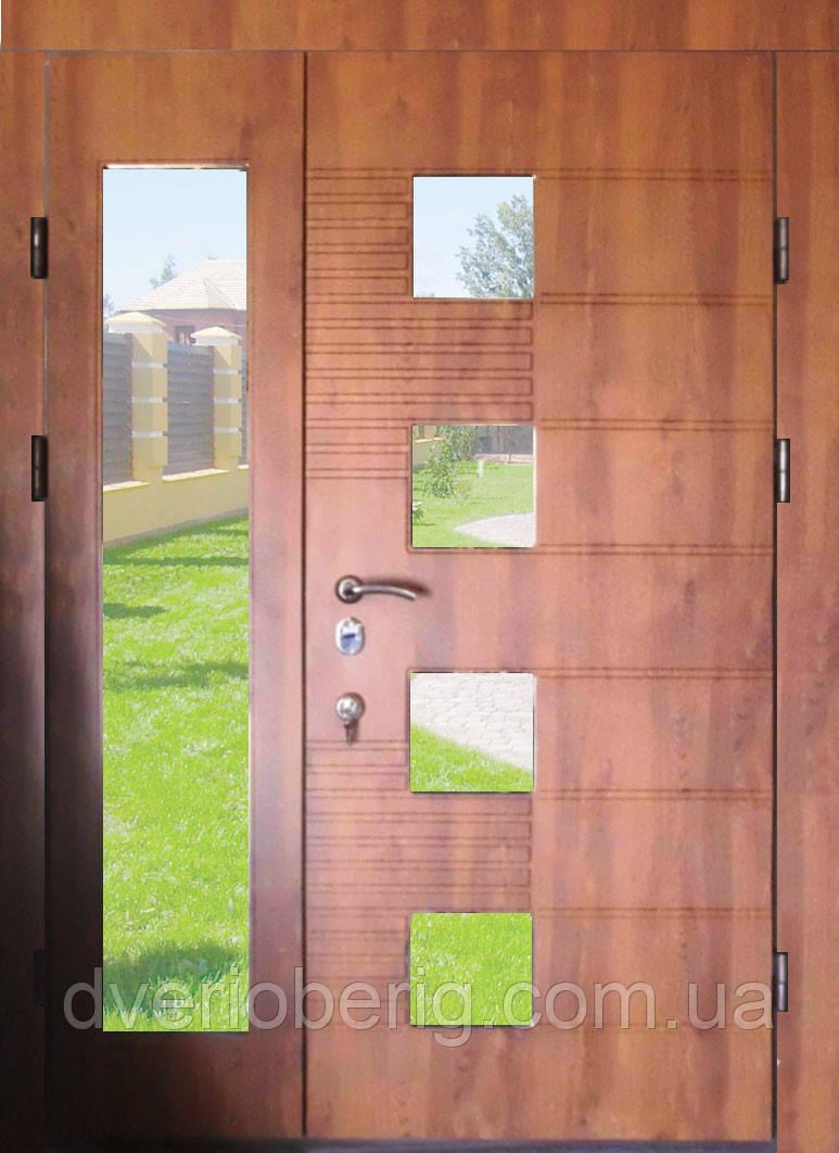 Входная дверь двух створчатая 1500мм модель П5-500  vinorit-90 СТЕКЛА