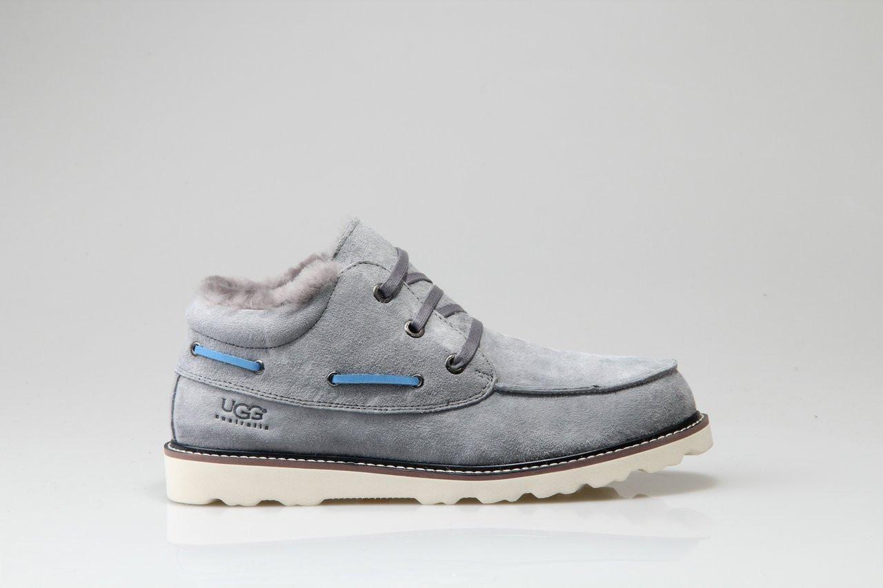 Мужские ботинки UGG David Beckham Lace Grey (Реплика ААА+)