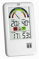 Термогигрометр цифровой TFA Bel-Air, внешний радиодатчик, цветная шкала, 95x20x158мм