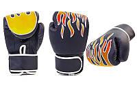 Перчатки для бокса Flame детские (поливинилхлорид) 6 oz черные