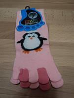 """Женские носки с пальчиками, розовые цветом, """" Пингвин """""""