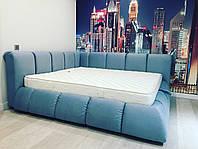 """Дизайнерська двоспальне ліжко """"Sky"""" з м'яким узголів'ям, Підйомним механізмом і нішею для білизни"""