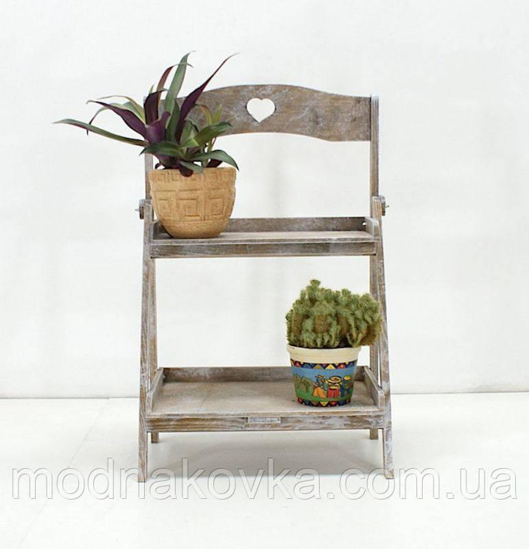 Подставка для цветов деревянная двуярусная