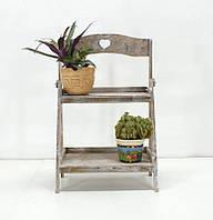 Подставка для цветов деревянная двуярусная , фото 1