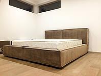 """Дизайнерская двуспальная кровать  """"Vogue 1"""" с мягким изголовьем, Подъёмным механизмом и нишей для белья"""
