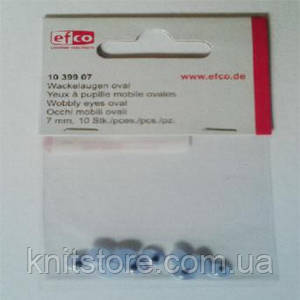 Оченята рухливі, овальні, пластик, діаметр 7 мм, 10 шт в упаковці