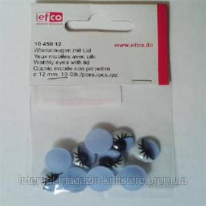 Оченята рухливі c віями, круглі, пластик, діаметр 12 мм, 10 шт в упаковці