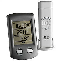 Термометр цифровой TFA Ratio, внешний радиодатчик, серая, 113х67х28 мм
