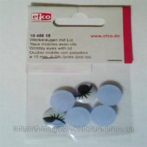 Оченята рухливі c віями, круглі, пластик, діаметр 15 мм, 6 шт в упаковці