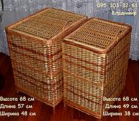 Корзина из лозы квадратная для белья, фото 1