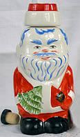 """Подарочный набор. Графин 0.5 л """"Дед Мороз и 6 белых рюмок"""" из керамики"""