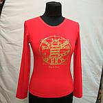 """Красная футболка с длинным рукавом  принт """"Кот Давинчи"""" 44-52плотный трикотаж , фото 2"""