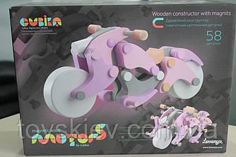 Деревянный конструктор мотоцикл «Girl-чоппер» LM-1 на магнитах Cubika 11629