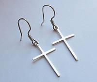 Серьги серебряные Крест гладкий,без распятия