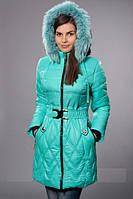 Зимнее женское молодежное пальто. Цвет мятный