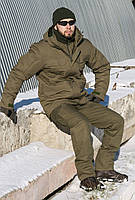 Теплый зимний костюм горка цвета олива