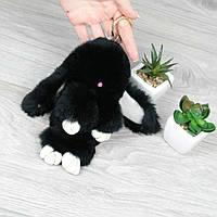 Брелок зайчик пушистик Черный натуральный мех кролика, заяц на рюкзак