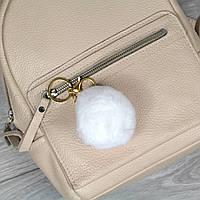 Брелок пушок Белый натуральный мех кролика, заяц на рюкзак