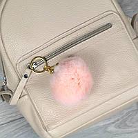 Брелок пушок Персиковый натуральный мех кролика, заяц на рюкзак