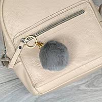 Брелок пушок Серый натуральный мех кролика, заяц на рюкзак