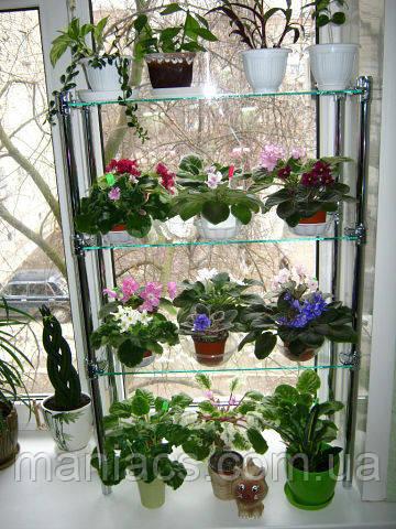 Стеллаж оконный-1, подставка для цветов на 3 полки