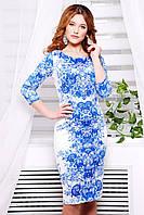 Платье GLEM Розы синие платье Лоя-1Ф д/р