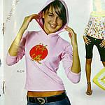 """Кофта с капюшоном розовая с длинным рукавом принтом """"багатство""""бл250026, фото 2"""