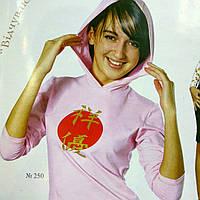 """Кофта с капюшоном розовая с длинным рукавом принтом """"багатство""""бл250026"""