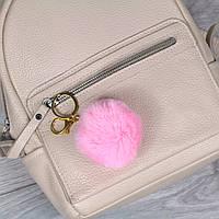 Брелок пушок Розовый натуральный мех кролика, заяц на рюкзак