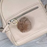 Брелок пушок Коричневый натуральный мех кролика, заяц на рюкзак