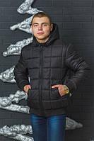 Стеганная зимняя мужская куртка с  цвет черный р-44-60