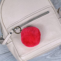 Брелок пушок Красный натуральный мех кролика, заяц на рюкзак