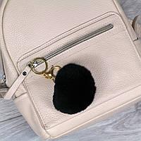Брелок пушок Черный натуральный мех кролика, заяц на рюкзак
