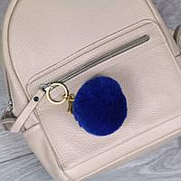 Брелок пушок Синий натуральный мех кролика, заяц на рюкзак