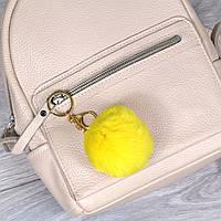 Брелок пушок Желтый натуральный мех кролика, заяц на рюкзак