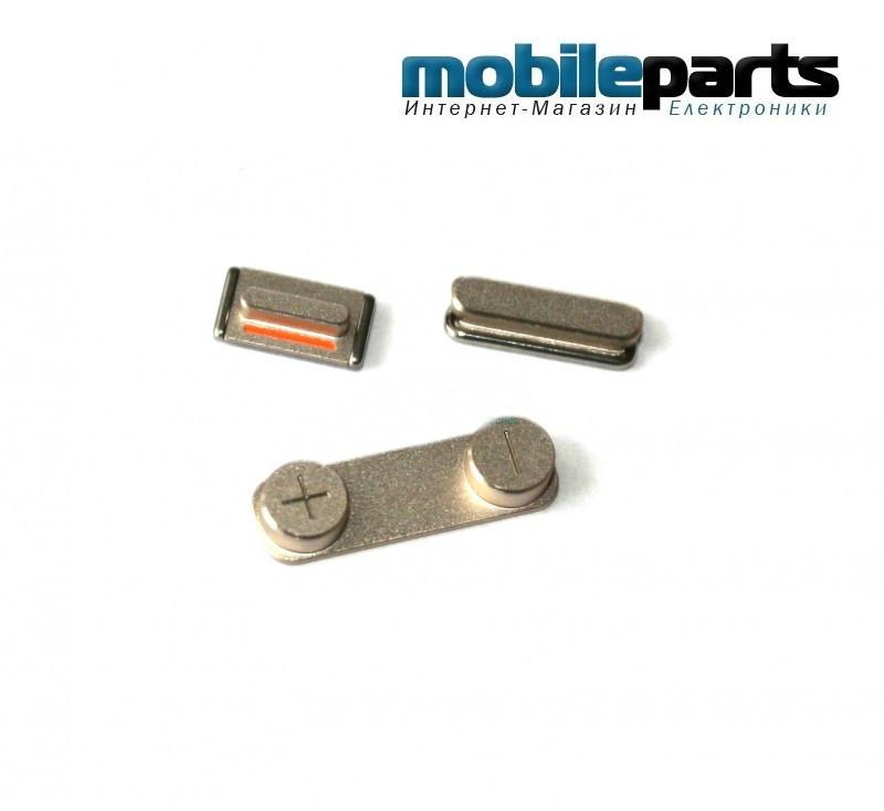 Комплект: питание, громкость, звонок (volume key+power key+mute key gold) для Apple iPhone 5S