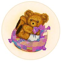 Схема для вышивки бисером Девочка-медвежонок, размер 23х23 см