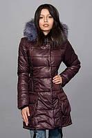 Теплая удлиненная женская зимняя куртка шоколадного цвета