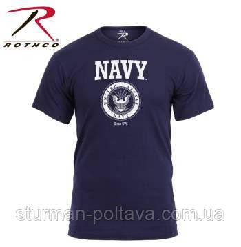 Футболка   мужская  логтип - морских сил US Navy   синяя официальная  Rothco США