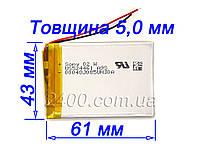 Аккумулятор 1800мАч 524461 3,7 в для MP3 плееров, GPS, планшета, електрон.книги 1800mAh 3.7v 5.2*43*61 мм