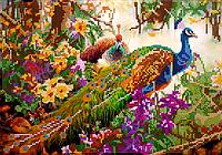 Схема для вышивки бисером Павлины в цветах, размер 30х21 см