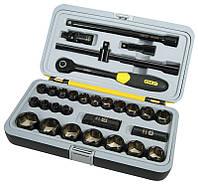 """Набор инструментов 1/2"""" 30ед,(головки 8-32мм, 2 удлин., кардан, вороток, трещотка) (""""черный хром"""")"""