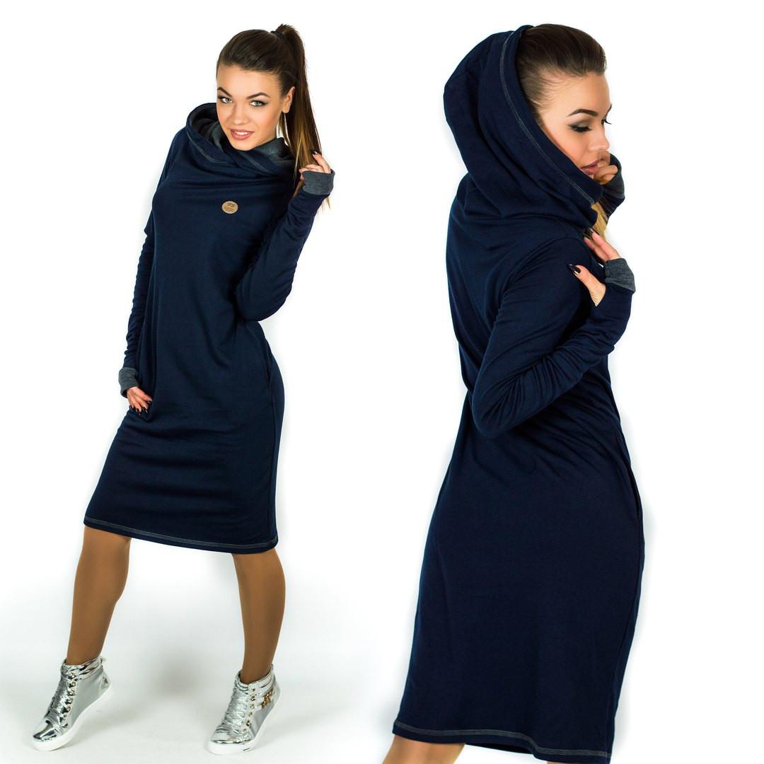 4c475dc0c459fc5 Теплое платье в спортивном стиле с двойным капюшоном / трикотаж джерси с  начесом