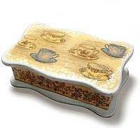 """Шкатулка для чайных пакетов """"Чашки"""" (26.5х15.5х9.5) ольха, липа."""